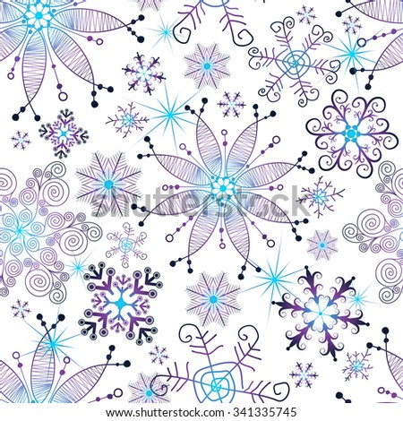 Seamless christmas white pattern with scattering violet-blue snowflakes (vector eps 10) - stock vector