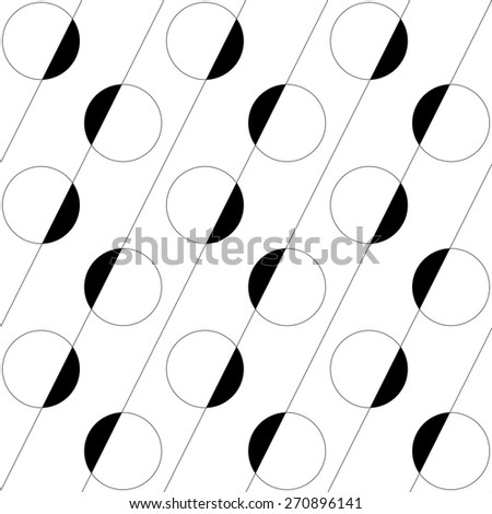 Seamless Circle and Line Pattern. Vector Regular Texture - stock vector