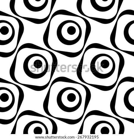 Seamless Circle and Square Pattern. Abstract Monochrome Background. Vector Regular Texture - stock vector