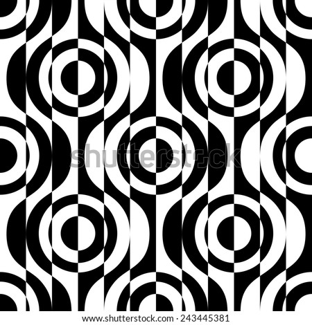 Seamless Circle and Stripe Pattern. Vector Geometric Background. Regular Monochrome Texture - stock vector