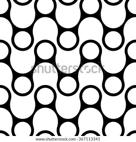 Seamless Circle and ZigZag Pattern. Abstract  Monochrome Background. Vector Regular Texture - stock vector