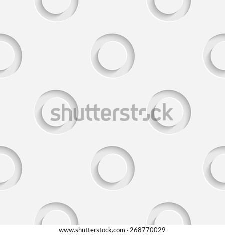 Seamless Circle Pattern. Vector Geometric Background. Regular White Texture - stock vector