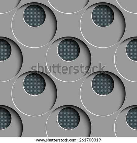 Seamless Circle Pattern. Vector Gray Regular Texture - stock vector