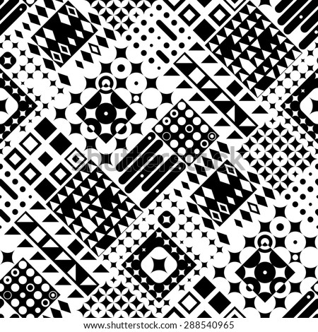 Seamless Circle, Square and Triangle Pattern. Vector Black and White Background - stock vector