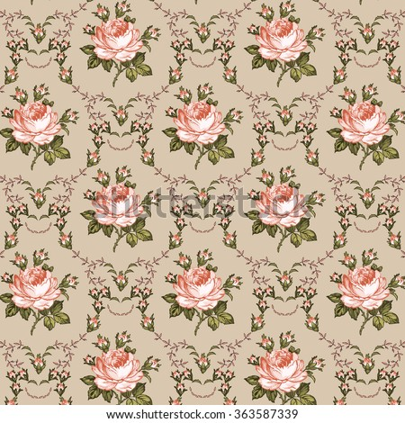 Seamless classic pattern. Beautiful pink flowers isolated textile. Vintage background realistic blooming flowers Rose Drawing, engraving Freehand Wallpaper baroque Vector victorian style Illustration. - stock vector