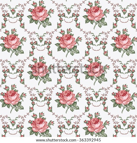 Seamless classic pattern. Beautiful pink flowers textile. Vintage background realistic blooming flowers.  Rose. Drawing, engraving. Freehand. Wallpaper baroque. Vector victorian style Illustration. - stock vector