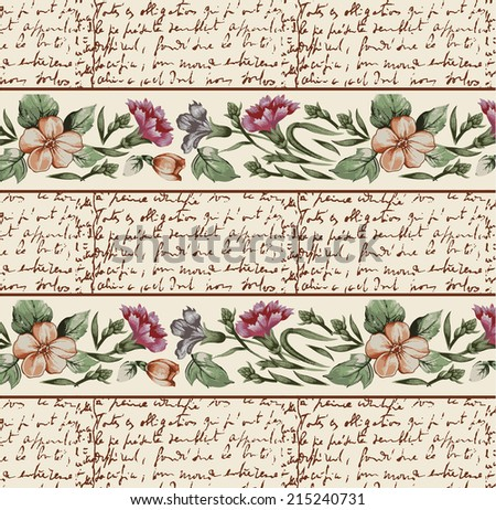 Seamless classic pattern. Carnation. Border. Beautiful brown baroque flowers. Vintage background with blooming flowers. Drawing, engraving. Freehand. Wallpaper. Vector victorian style Illustration.