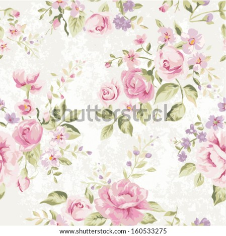 seamless classic wallpaper  vintage flower pattern grunge background - stock vector