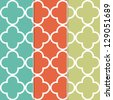 Seamless Clover Pattern Background in Three Separate Trendy Colors - stock vector