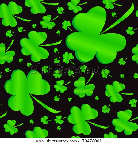 Seamless clover pattern on black background at Patrick's Day