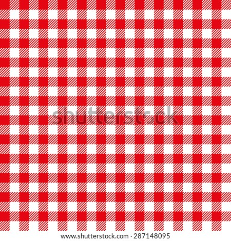 Seamless Coarse Red Checkered Plaid Fabric Pattern Texture - stock vector