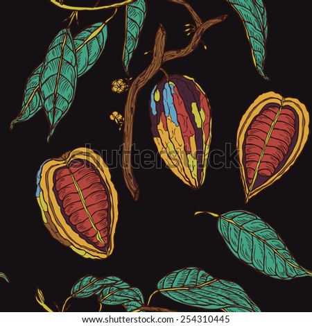 Seamless cocoa pattern on black background in vector - stock vector