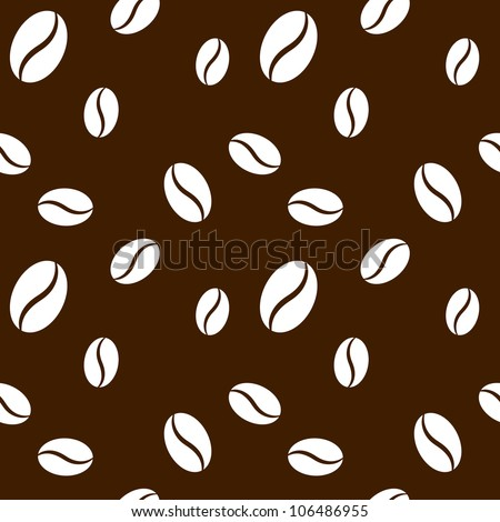 Seamless coffee beans background - stock vector