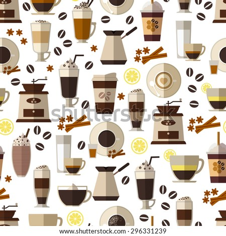 Seamless coffee pattern in flat style. Mug and breakfast, beverage and espresso,  hot and caffeine. Vector illustration - stock vector
