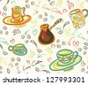 Seamless coffee pattern in vector - stock vector