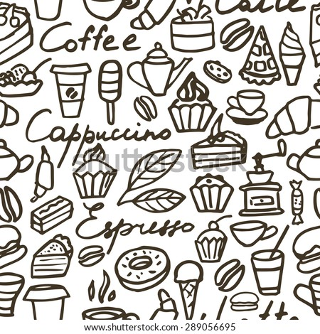 Seamless coffee pattern on a white background. Hand drawing. Vector illustration