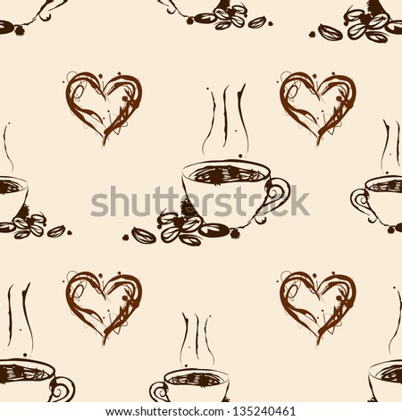 Seamless coffee pattern. Vintage background - stock vector