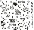 Seamless coffee patterns. isolated on White background. Vector illustration - stock vector