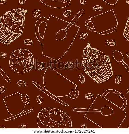 Seamless coffee time pattern with cups, mugs, cakes, cookies and coffee beans