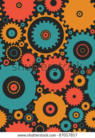 seamless cogs repeat pettern - colours 2 - stock vector