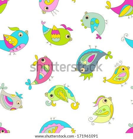 Seamless color background. Image parrots. Bright spring colors. The white background.  - stock vector