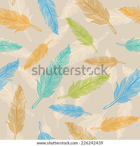 Seamless color feather pattern  - stock vector
