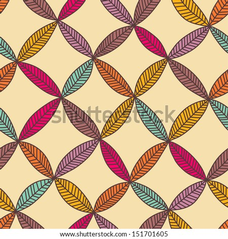 Seamless color hand drawn leaf pattern. Vector illustration