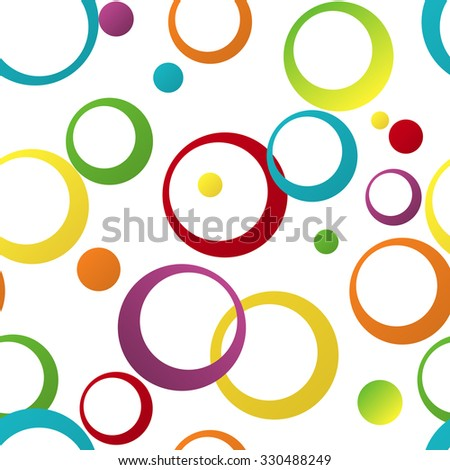 Seamless color pattern with geometric ornament the rings - stock vector