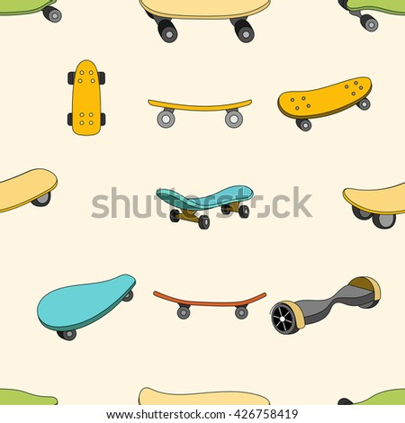 Seamless color pattern with skateboards. Pattern with skateboards for prints, fabric, stickers. Wallpaper with a pattern of skateboards in a linear style. Skateboard pattern for hipster design. Vector - stock vector