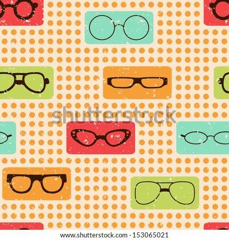 Seamless Pattern Glasses Textiles Interior Design Stock Vector