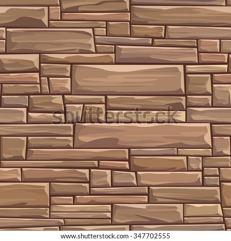 Seamless colored vector background of rectangular stones wall ancient building with different sized bricks. - stock vector