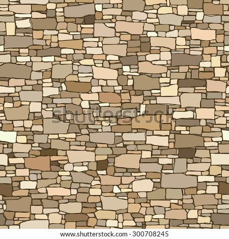 Seamless colored vector background of stone wall ancient building with different sized bricks. - stock vector