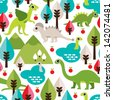 Seamless colorful baby dinosaur animal illustration background pattern in vector - stock vector