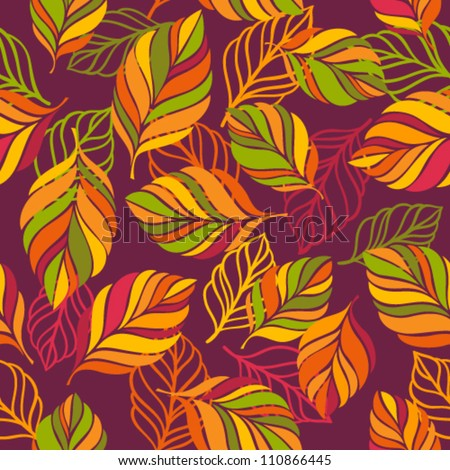 Seamless colorful background with leaves. Seamless pattern for your design wallpapers, pattern fills, web page backgrounds, surface textures. - stock vector