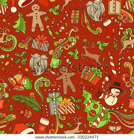 Seamless Colorful Christmas Pattern. Christmas tree and Christmas baubles, gifts, candy canes, snowman, swirls, gingerbread man, deer, bells, stars, cup, candle, Santa sock, Santa hat, Santa beard. - stock vector