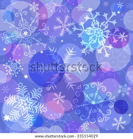 Seamless colorful christmas pattern with translucent snowflakes and balls, vector eps 10 - stock vector