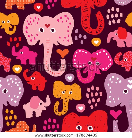 Seamless colorful circus elephant illustration background pattern in vector - stock vector