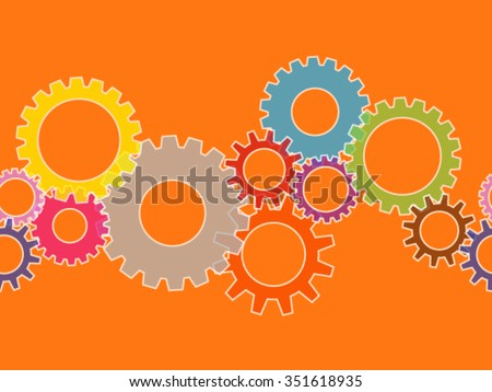 Seamless colorful cog gear wheels banner over orange - stock vector
