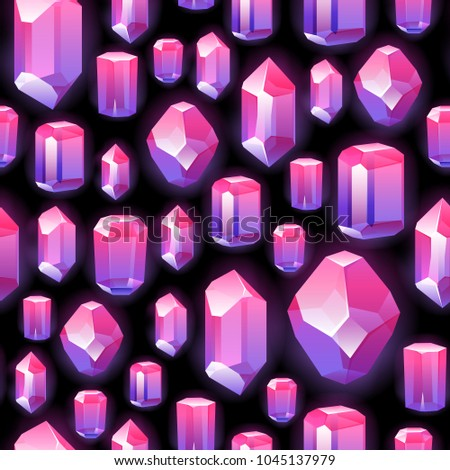 Seamless colorful crystals gemstones background on black. Jewels pattern.
