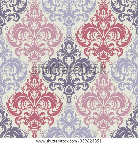 seamless colorful damask pattern - stock vector