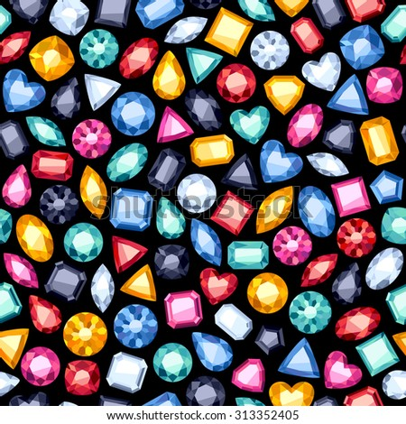Seamless colorful diamond gemstones background on black. Jewels pattern. - stock vector