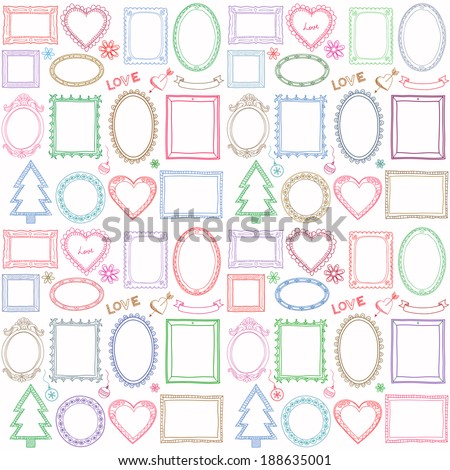 Seamless colorful doodle frame set