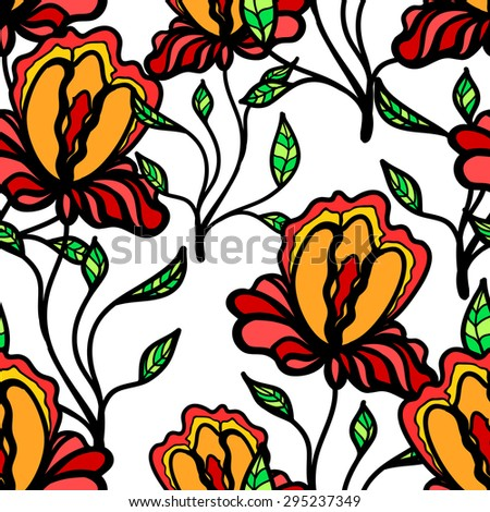 Seamless colorful floral pattern. Background with flowers. Vector floral texture - stock vector