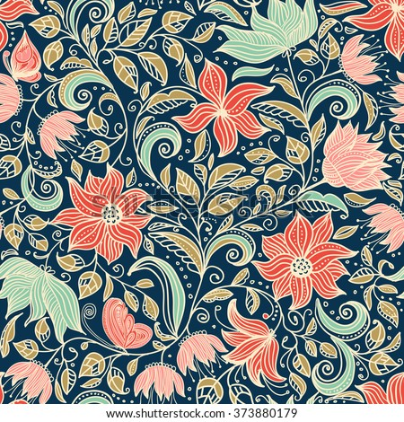 seamless colorful floral pattern in doodle style with flowers. leaves and butterflies - stock vector