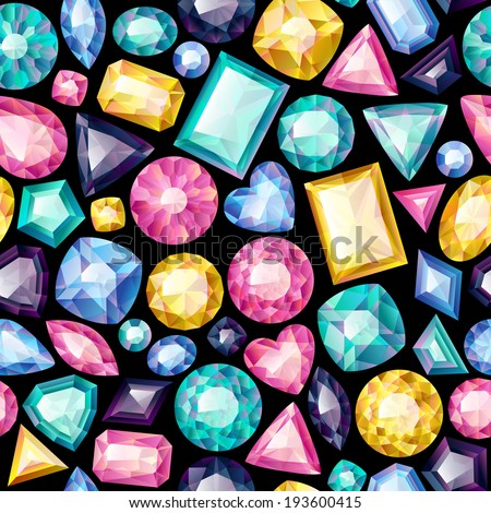 Seamless colorful gemstones background on black. Jewels pattern. - stock vector