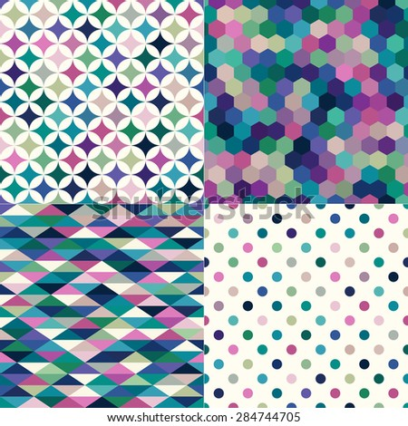 seamless colorful geometric pattern background - stock vector