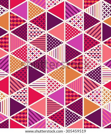 seamless colorful geometric triangle tiles patchwork pattern - stock vector