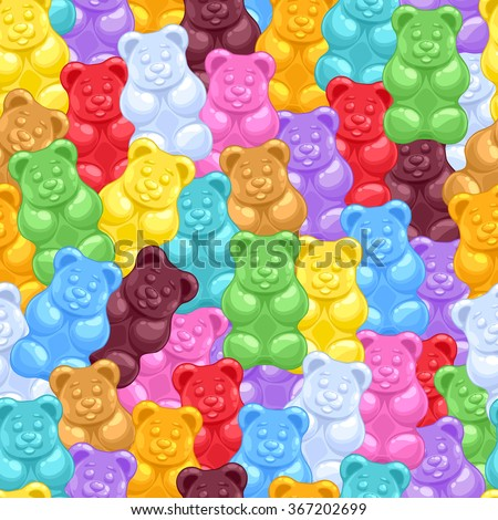 Seamless colorful gummy bears candies background. Sweets vector pattern. - stock vector