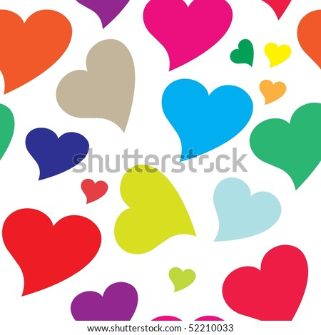 Seamless colorful heart vector pattern
