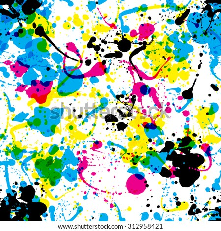 Seamless colorful ink color splats pattern in cmyk colours - stock vector
